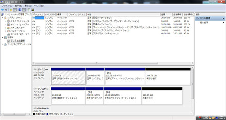 ディスクの管理画面