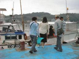 船に乗り込むところ