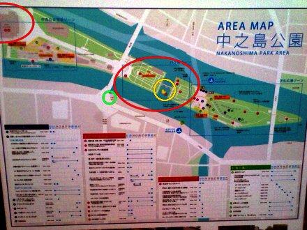 看板の中之島公園の地図