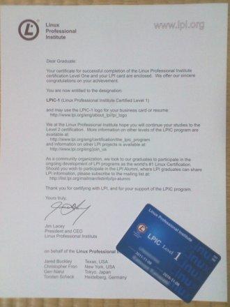 認定のあいさつ文(?)と認定カード