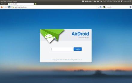 Airdroid ログイン画面