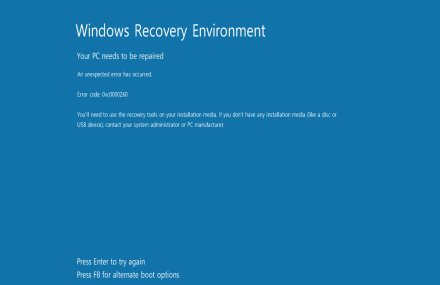 Windows Recovery Environment 画面