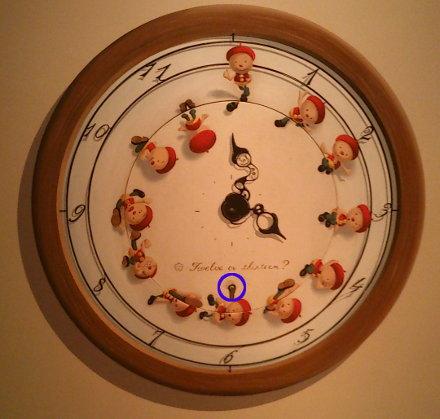小人が描かれた掛け時計