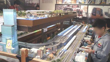 大きな鉄道模型のジオラマ